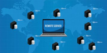An image featuring a drawing of a laptop that says remote server on it with multiple servers on the side