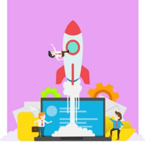 An image featuring a drawn rocket ship with workers and a laptop underneath it