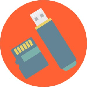 An image featuring a drawn USB stick and a micro SD card