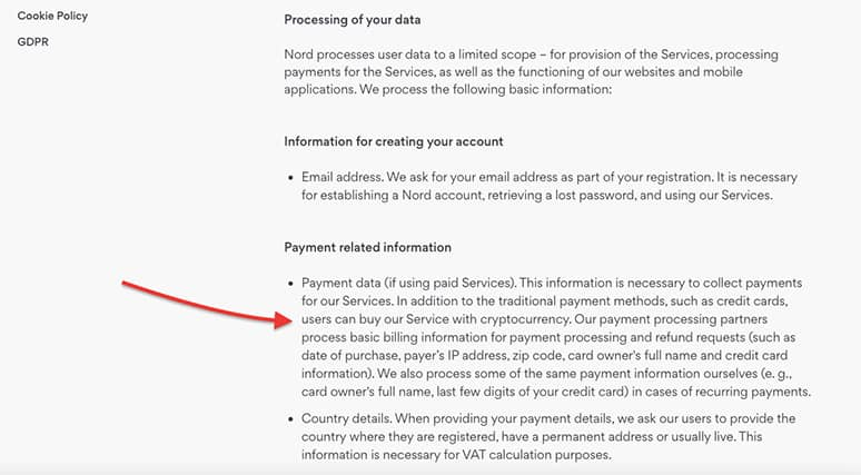 An image featuring NordVPN's payment related information