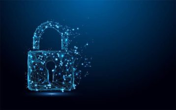 An image featuring a artistically drawn blue lock representing privacy and security