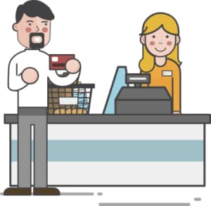 An image featuring a drawn person buying something and giving his credit card to the cashier