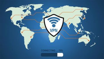 An image featuring a VPN logo in the middle being connected to the whole world concept