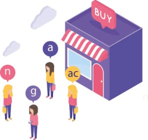 An image featuring multiple customers waiting to shop concept