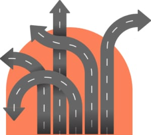 An image featuring multiple roads going on different directions concept