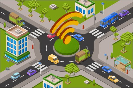 An image featuring a drawn ring road in the middle of an town concept