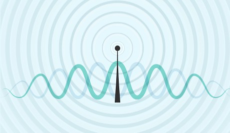 An image featuring an antenna with waves concept
