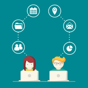 An image featuring a drawing of two people using their laptop while having multiple icons on top of them