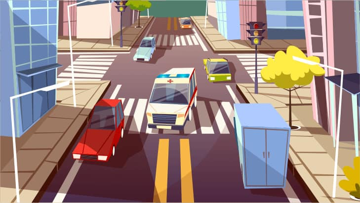 An image featuring a drawn traffic in the city with cars concept