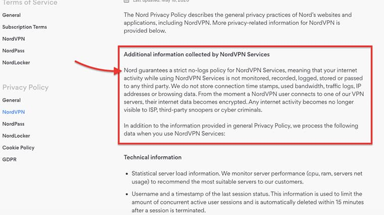 An image featuring NordVPN's additional information