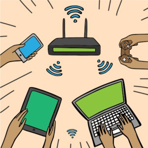 An image featuring multiple drawn devices being connected to one Wi-Fi router