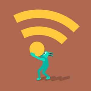 An image featuring a drawn figure holding the Wi-Fi logo