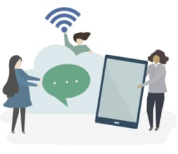 An image featuring three drawn people being connected to Wi-Fi and using a smartphone and texting concept