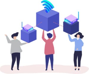 An image featuring three drawn people holding Wi-Fi routers in their hands