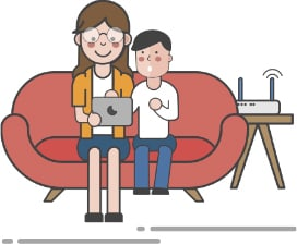 An image featuring a mother and her son watching something on their laptop while being connected to their Wi-Fi router