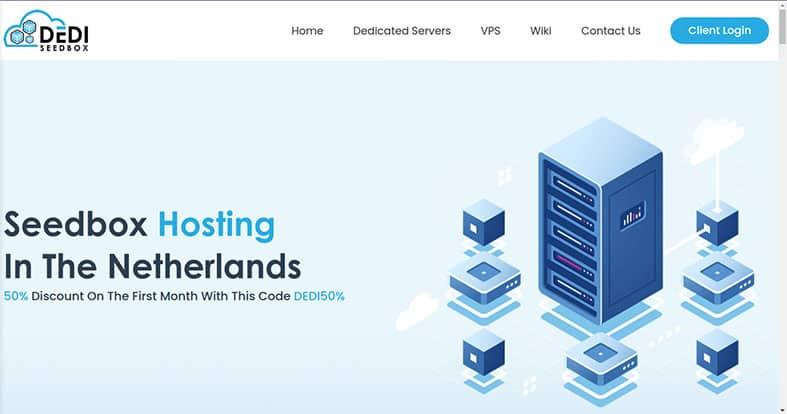 An image featuring the DediSeedbox homepage