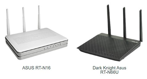 An image featuring a comparison between the ASUS RT-N16 and the Dark Knight Asus RT-N66U