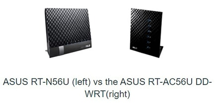 An image featuring a comparison between ASUS RT-N56U on the left and the ASUS RT-AC56U DD-WRT on the right