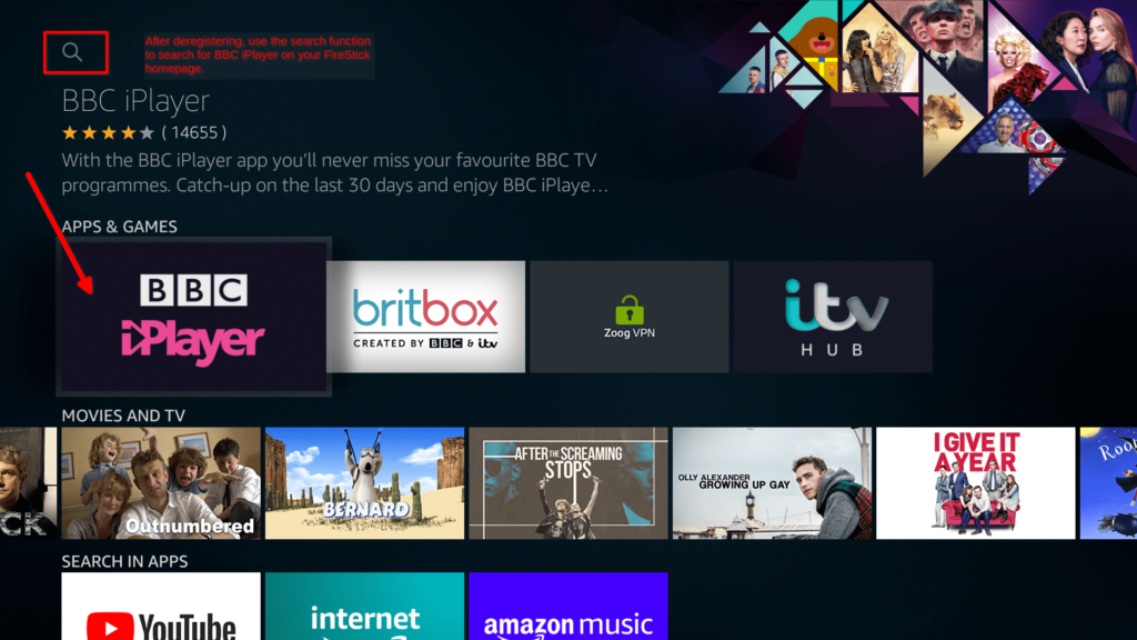 An image featuring how to watch BBC iPlayer from USA on Amazon FireStick step3e