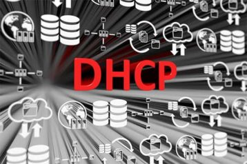 An image featuring a cool red DHCP text representing dynamic host configuration protocol