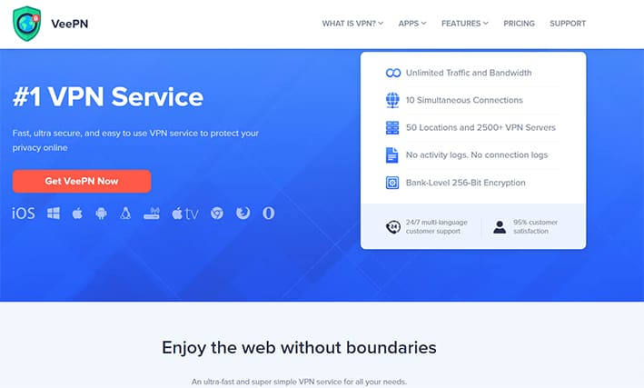 An image featuring the homepage of the VeePN VPN