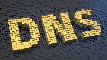 An image featuring a cool yellow DNS text representing domain name server