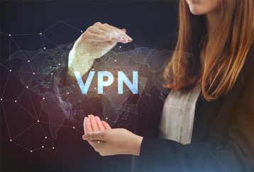 An image featuring a person holding out her hands like she is holding a VPN concept