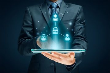 An image featuring a person using his tablet while multiple secure apps are popping out of it representing VPN apps concept
