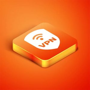 An image featuring a VPN logo on an orange button with an orange background