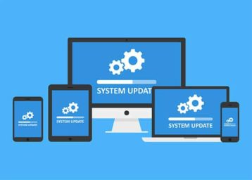 An image featuring multiple devices like a pc, phone, tablet and a macbook that says system update on them representing an operating system update concept