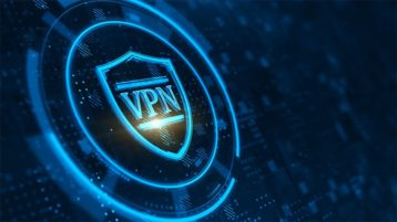 An image featuring a VPN logo with cool blue effects around it concept