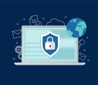 An image featuring a cool drawn laptop that has a VPN logo on it representing VPN privacy