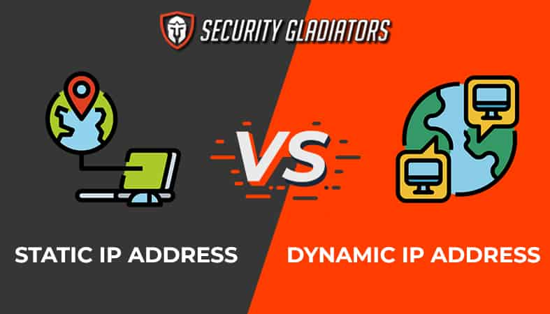An image featuring the Security Gladiators logo comparing static IP address versus dynamic IP address concept