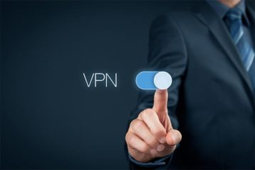 An image featuring a person holding out his index finger and activating a VPN concept
