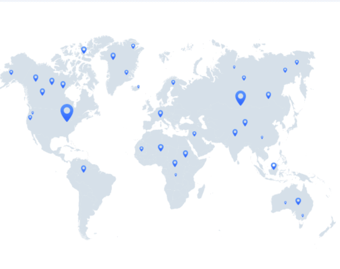 VeePN server map