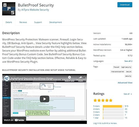 An image featuring the description of the BulletProof Security WordPress plugin