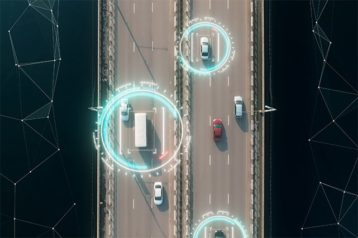 An image featuring tracking and surveillance concept with blue circles around the cars