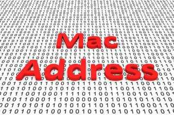 An image featuring a mac address red text in the middle with binary code in the background