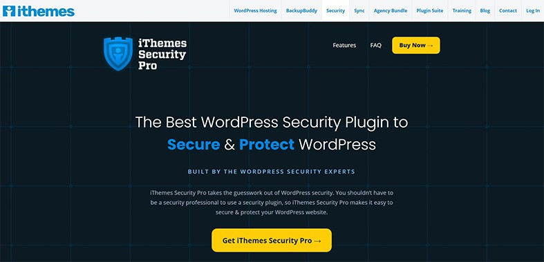 An image featuring the homepage of the iThemes Security Pro WordPress plugin