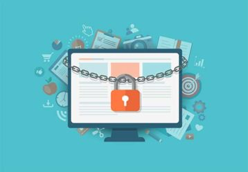 An image featuring a cool drawing of a laptop being locked representing online privacy concept