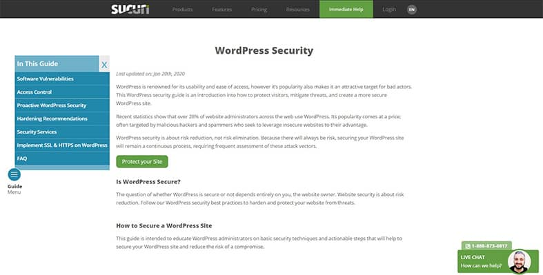 An image featuring the homepage of the Sucuri Security WordPress plugin