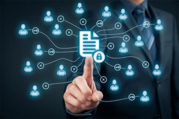 An image featuring a person holding out his index finger on a file manager type representing data sharing