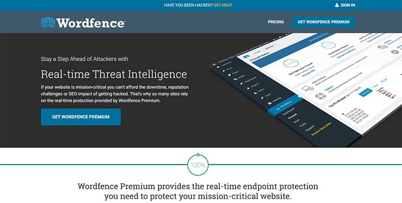 An image featuring the homepage of the Wordfence Premium WordPress plugin
