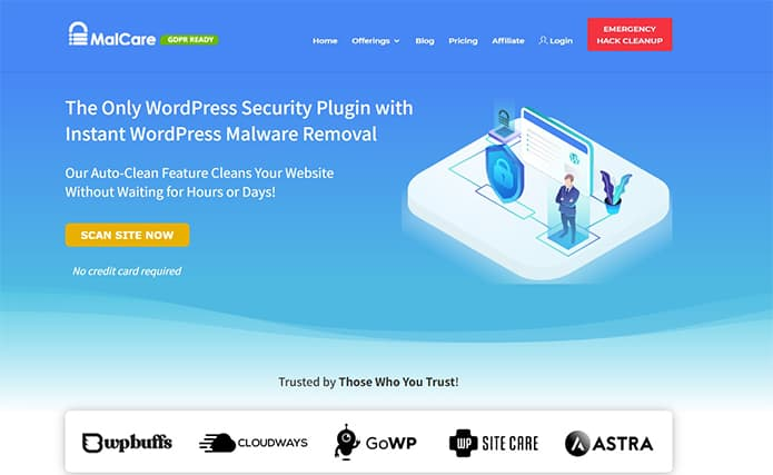 An image featuring the homepage of the MalCare WordPress plugin