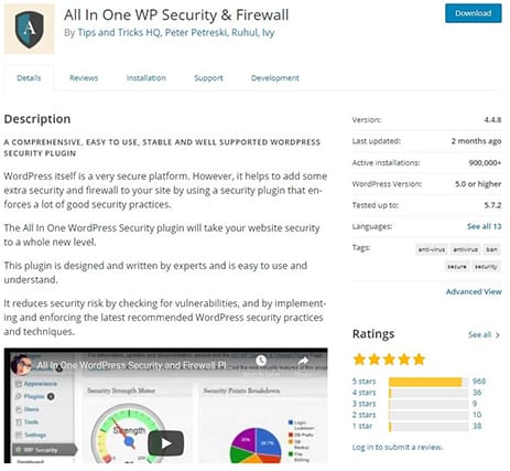 An image featuring the description of the All In One WordPress Security and Firewall WordPress plugin