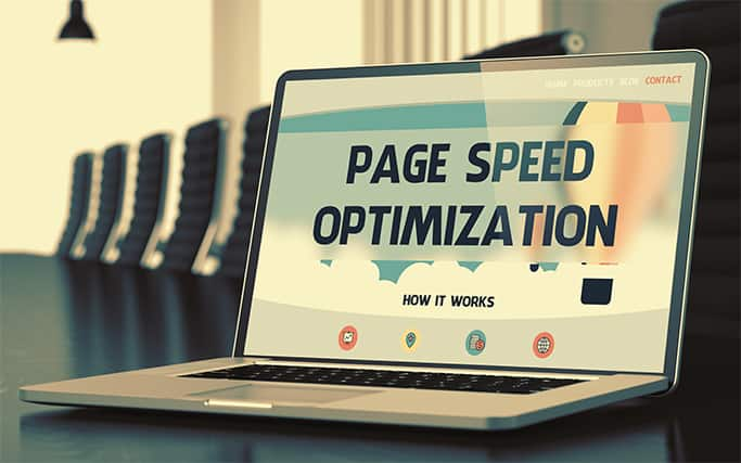 An image featuring a laptop that says page speed optimization on it