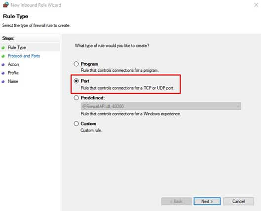 An image featuring how to access 127.0.0.1 from another computer using Windows FireWall step5