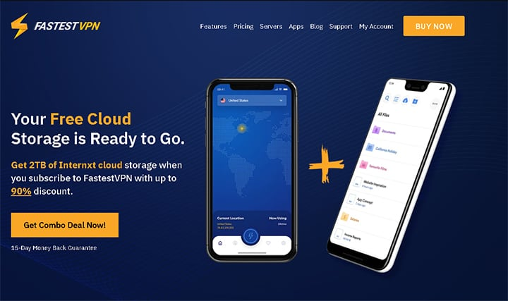 An image featuring the homepage of FastestVPN