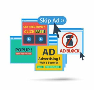 An image featuring multiple ads representing adware concept