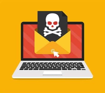 An image featuring email message virus concept